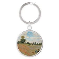 Wild Poppies, near Argenteuil by Cl Round Keychain