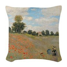 Wild Poppies, near Argenteuil  Woven Throw Pillow