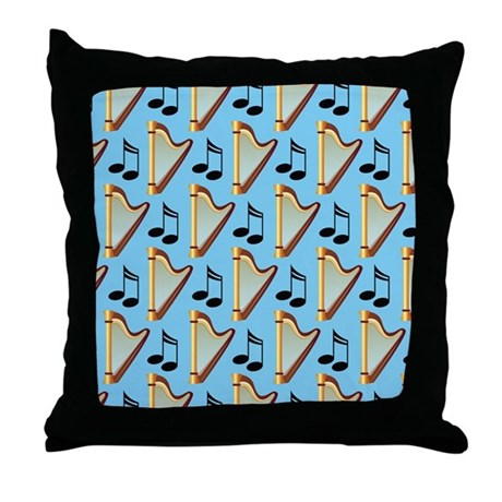 Harp Musical Notes Music Gift Throw Pillow