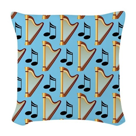 Harp Musical Notes Music Gift Woven Throw Pillow