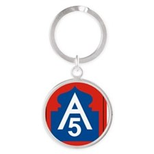 5th Army Round Keychain