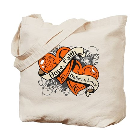 Kidney Cancer Hope Faith Dual Hearts Tote Bag