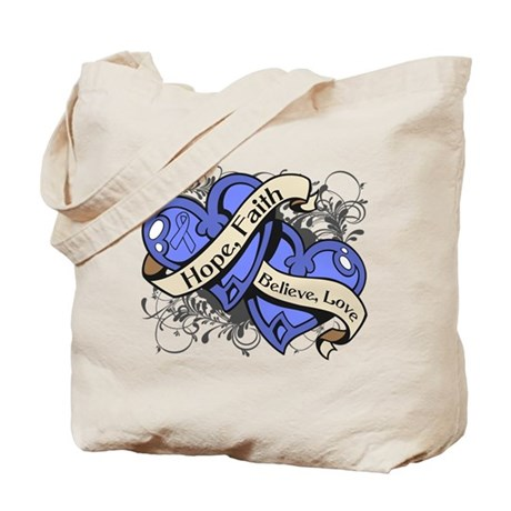 Intestinal Cancer Hope Faith Dual Hearts Tote Bag
