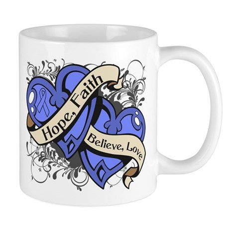 Intestinal Cancer Hope Faith Dual Hearts Mug
