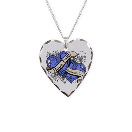 Intestinal Cancer Hope Faith Dual Hearts Necklace