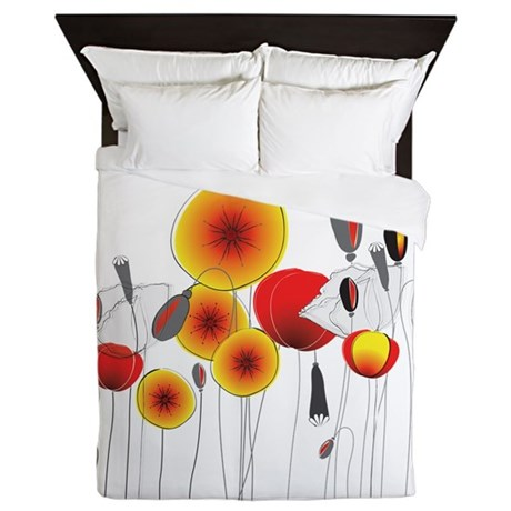 Contemporary California Poppies Queen Duvet
