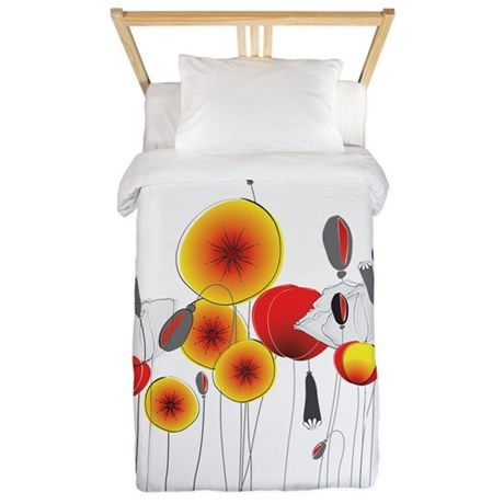 Contemporary California Poppies Twin Duvet