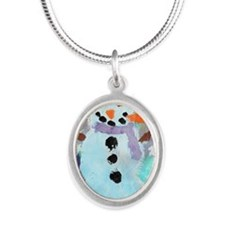 Coles Snowman copy Silver Oval Necklace