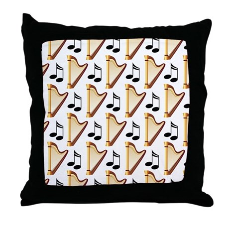Cute Harp Music Design Throw Pillow