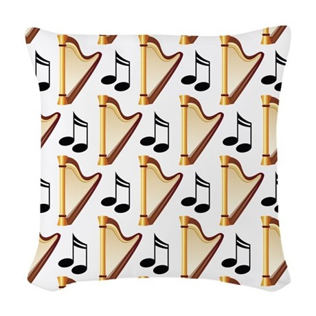 Cute Harp Music Design Woven Throw Pillow