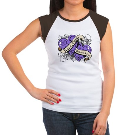 Hodgkins Lymphoma Hope Hearts Women's Cap Sleeve T