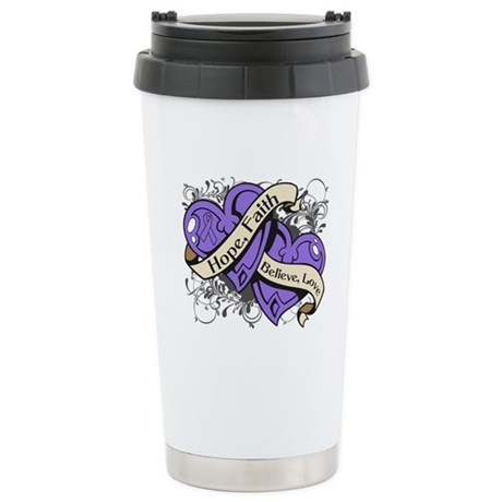 Hodgkins Lymphoma Hope Hearts Ceramic Travel Mug