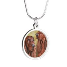 IrishSetter_CB square Silver Round Necklace