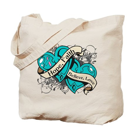 Hereditary Breast Cancer Hope Hearts Tote Bag