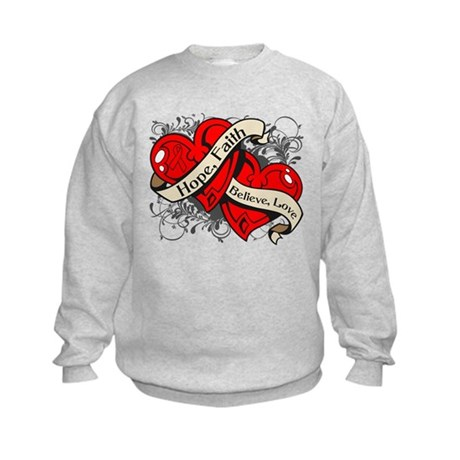 Heart Disease Hope Faith Dual Hearts Kids Sweatshi