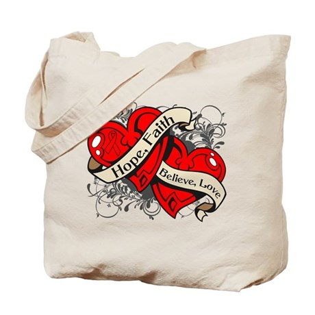 Heart Disease Hope Faith Dual Hearts Tote Bag