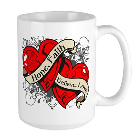 Heart Disease Hope Faith Dual Hearts Large Mug