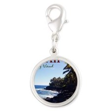 Hawaii_Cover Silver Round Charm