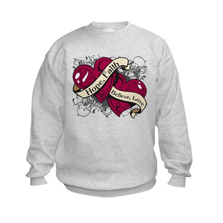 Head Neck Hope Faith Dual Hearts Kids Sweatshirt