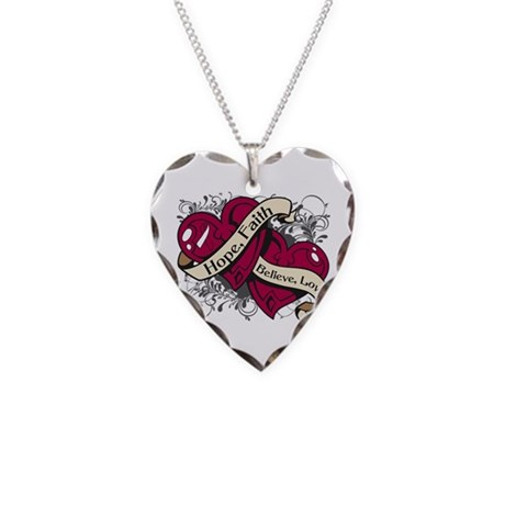 Head Neck Hope Faith Dual Hearts Necklace Heart Ch