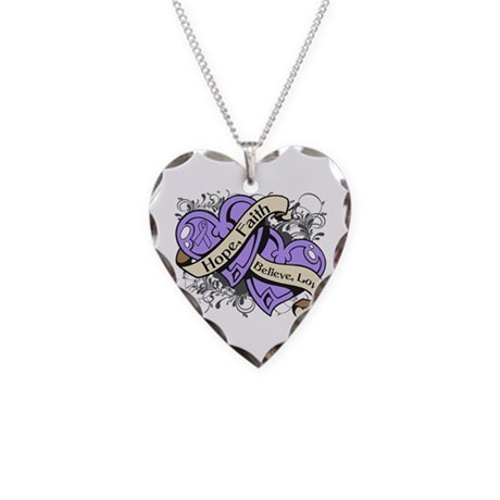 General Cancer Hope Hearts Necklace Heart Charm