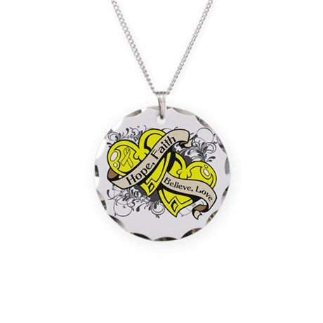 Ewings Sarcoma Hope Hearts Necklace Circle Charm