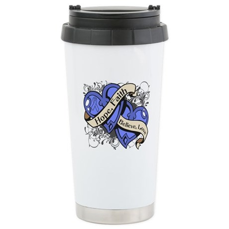 Esophageal Cancer Hope Hearts Ceramic Travel Mug