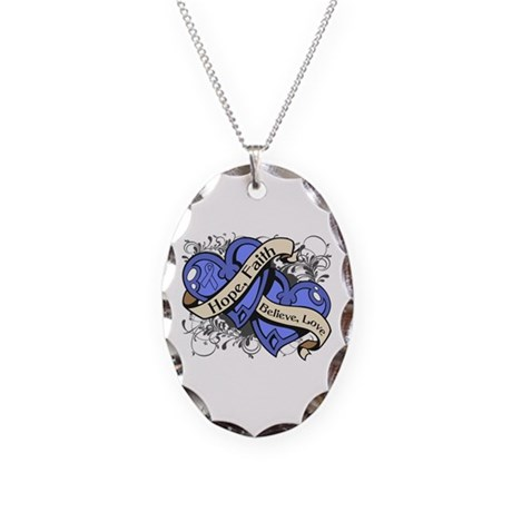 Esophageal Cancer Hope Hearts Necklace Oval Charm