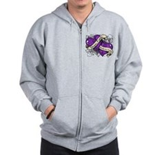 Epilepsy Hope Faith Dual Hearts Zip Hoodie