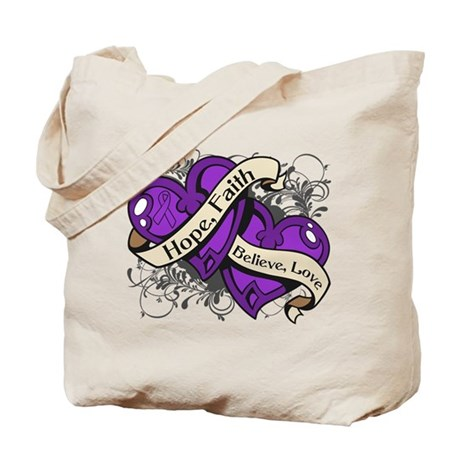 Epilepsy Hope Faith Dual Hearts Tote Bag