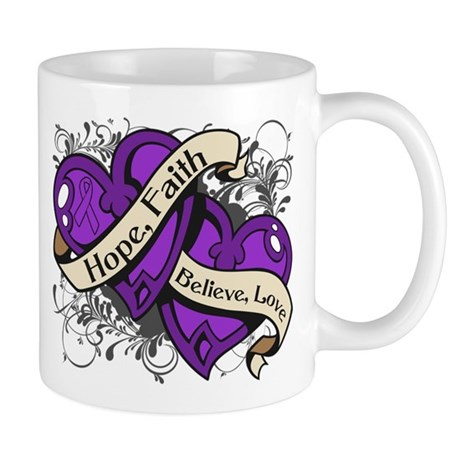 Epilepsy Hope Faith Dual Hearts Mug
