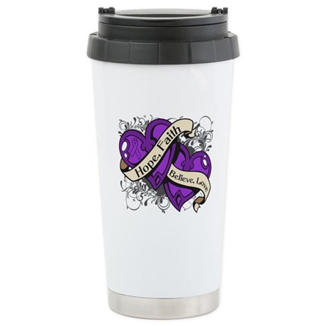 Epilepsy Hope Faith Dual Hearts Ceramic Travel Mug