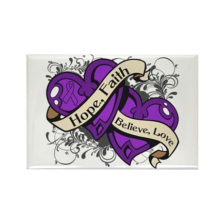 Epilepsy Hope Faith Dual Hearts Rectangle Magnet