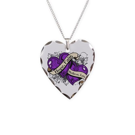 Epilepsy Hope Faith Dual Hearts Necklace Heart Cha