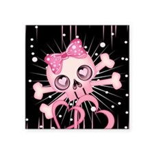 "Pink Neon Skull IPAD Square Sticker 3"" x 3"""
