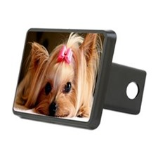 Yorkie greeting Rectangular Hitch Cover