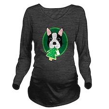 Boston Terrier Christmas Long Sleeve Maternity T-S