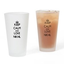 Keep Calm and Love Nikhil Drinking Glass
