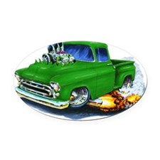 1957 Chevy Pickup Green Oval Car Magnet