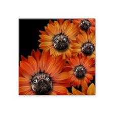 "flower_pug+8x10 Square Sticker 3"" x 3"""
