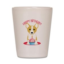 Happy Birthday Corgi Shot Glass