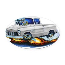 1955 Chevy Pickup White Truck Oval Car Magnet