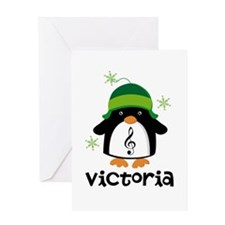 Personalized Christmas Penguin Greeting Cards