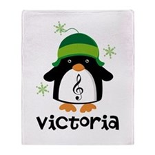Personalized Christmas Penguin Throw Blanket