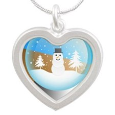 snowglobe Silver Heart Necklace