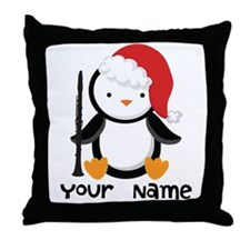Personalized Christmas Clarinet Penguin Throw Pill