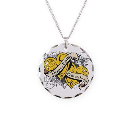 Childhood Cancer Hope Hearts Necklace Circle Charm