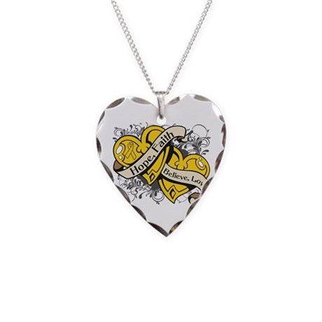 Childhood Cancer Hope Hearts Necklace Heart Charm