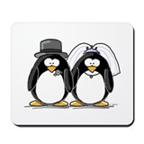 Bride and Groom Penguins Mousepad