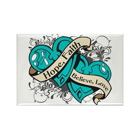 Cervical Cancer Hope Hearts Rectangle Magnet